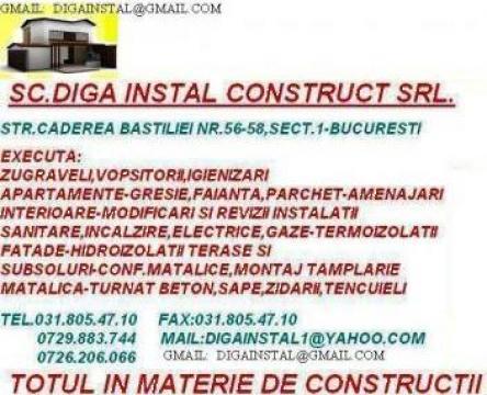 Lucrari instalatii electrice, sanitare, gaze de la Diga Instal Construct