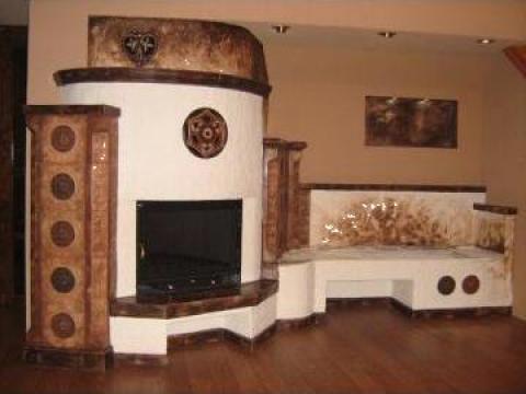 Decoratiune interioara pe perete stucco