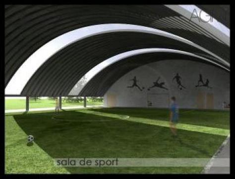 Sala de sport - teren acoperit - pe stalpi metalici