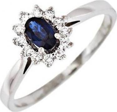 Inel aur 14K cu safir si diamante de la Goldnet Distribution