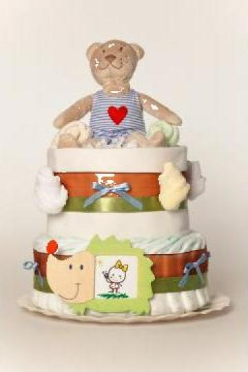 Tort din Pampers, cadou pentru nou- nascuti/ botezuri