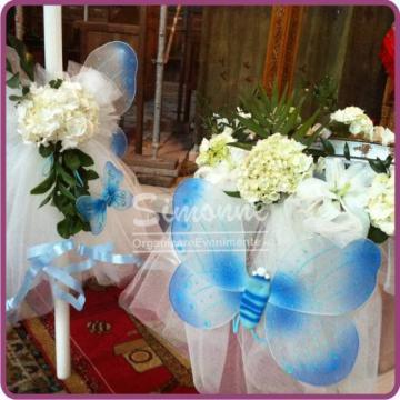 Decor cristelnita botez fluturi bleu si flori de la Simonne