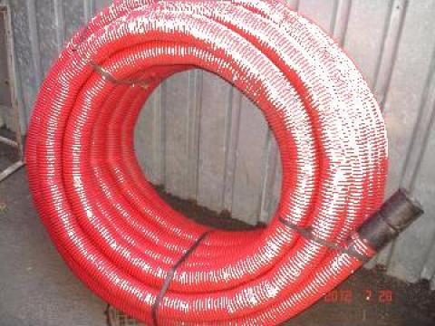 Tub riflat rosu D 90 mm, lungime 50 m de la Baza Tehnica Alfa Srl