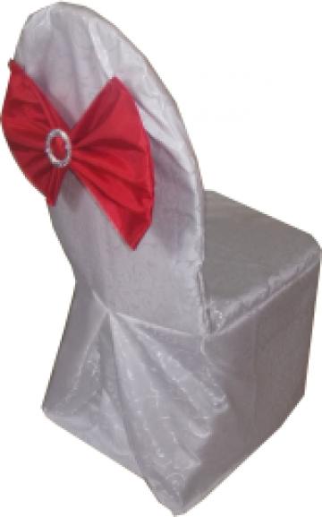 Husa de scaun brocard alb scaun rotund