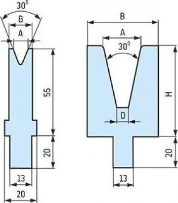 Matrite - T pentru prese de indoit tabla abkant