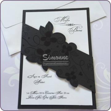Invitatie nunta cu floricele negre de la Simonne