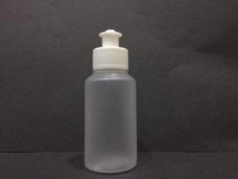 Flacon plastic transparent/alb 100 ml cu dop push pull de la Vanmar Impex Srl
