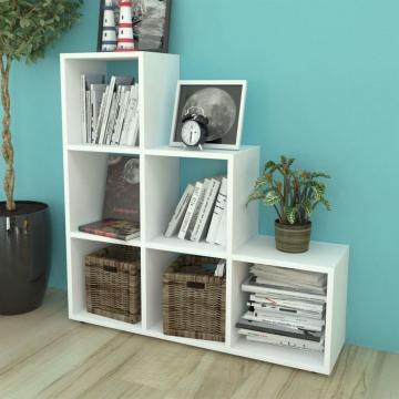 Biblioteca/etajera in trepte, 107 cm, Alba