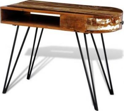 Birou din lemn reciclat cu picioare metalice de la Vidaxl