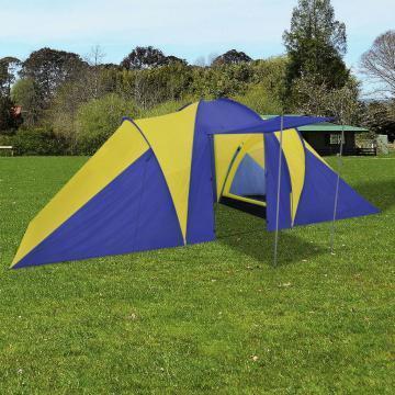 Cort camping 6 persoane, bleumarin/galben de la Vidaxl