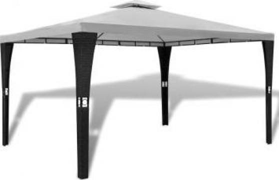 Pavilion din poliratan cu acoperis alb-crem 3 x 4 m de la Vidaxl