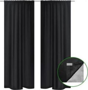 Set 2 draperii negre opace, cu strat dublu, 140 x 245 cm