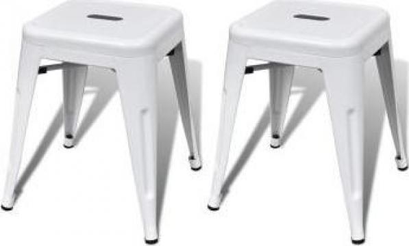 Set 2 scaune metalice mici, alb