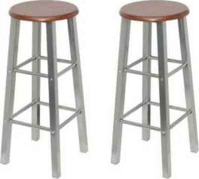 Set scaune bar lemn si otel
