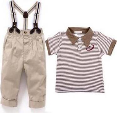Set tricou si pantaloni cu bretele pentru baieti
