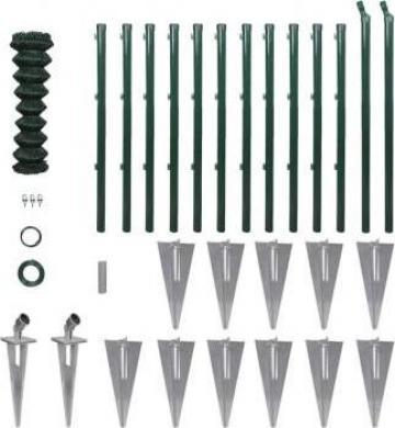 Set gard de sarma cu stalpi cu pivot si accesorii 1,5 x 25 m