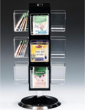 Stand rotativ policarbonat-acril pliculete ceai 12 locuri de la Basarom Com