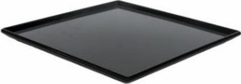 Platou patrat melamina Raki 24,5x24,5x1cm negru de la Basarom Com