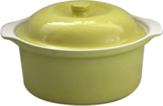 Oala ceramica cu capac Cerutil 0,75litri 16x7cm verde de la Basarom Com