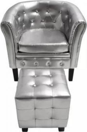 Fotoliu cu taburet din piele artificiala, argintiu de la Vidaxl