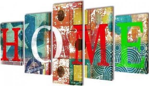 Set tablouri din panza cu imprimeu colorat Home 200 x 100 cm
