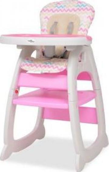 Scaun inalt de masa copii convertibil 3-in-1 cu masa, roz de la Vidaxl