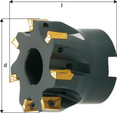 Cap de frezare 90 grade D50mm 7 taisuri APKT10 de la Electrotools