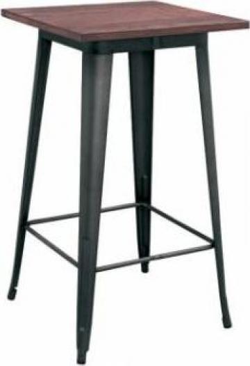 Masa patrata pentru bar Antique 60x60x105cm Black Matte