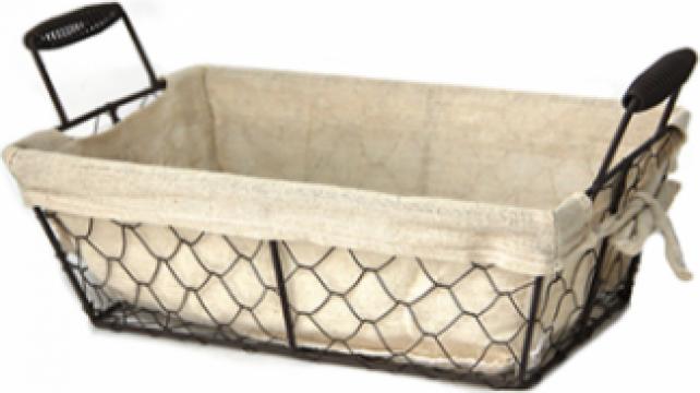 Cos dreptunghiular paine Raki, metal manere lemn 30x15xh13cm de la Basarom Com