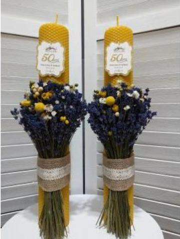 Lumanari din ceara nunta de aur 41/6 cm de la Cherciu I. Madgalina Pfa