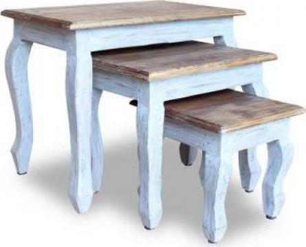 Set mese suprapuse, 3 piese, lemn masiv reciclat de la Vidaxl
