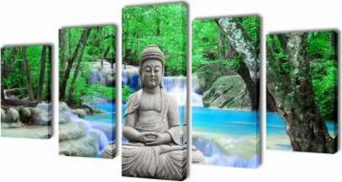Set tablouri de panza imprimate Buddha, 100 x 50 cm de la Vidaxl