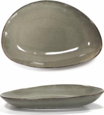Platou portelan oval adanc Antique Grey 20cm de la Basarom Com