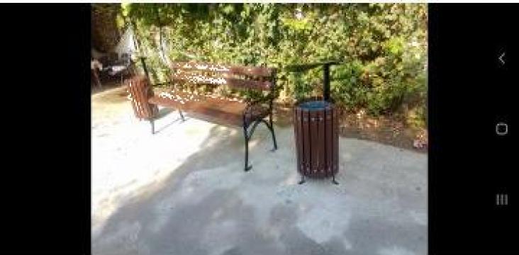 Banca de parc cu 2 cosuri de gunoi
