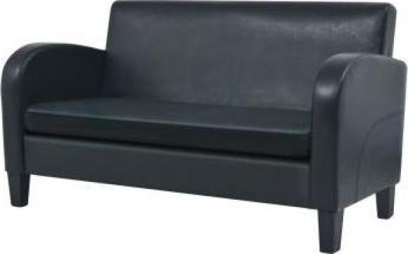 Canapea cu 2 locuri piele artificiala negru de la Vidaxl