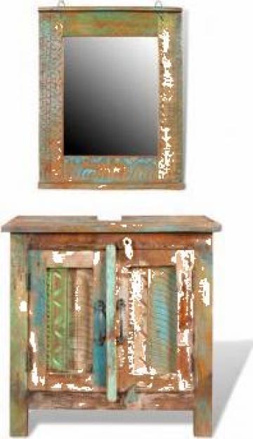 Set dulap din lemn reciclat cu oglinda de la Vidaxl