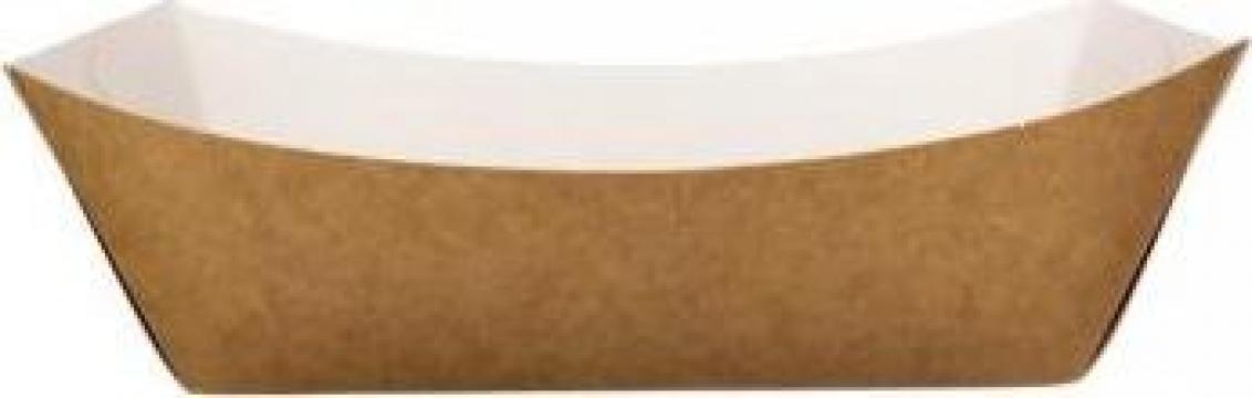Barcute kraft natur + alb 300cc 250 buc/set de la Cristian Food Industry Srl.