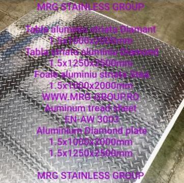 Tabla aluminiu 1.5mm Diamant striata cu striatii Diamond de la MRG Stainless Group Srl