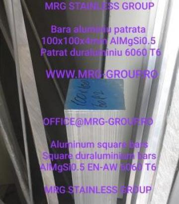 Bara aluminiu patrata 100x100mm duraluminiu EN 6082 AlMgSi1