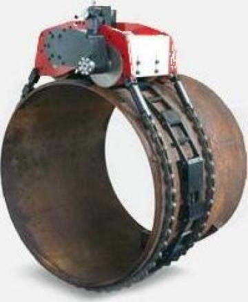 Masina de debitat tevi pneumatica cu lant TAF120 de la Proma Machinery Srl.