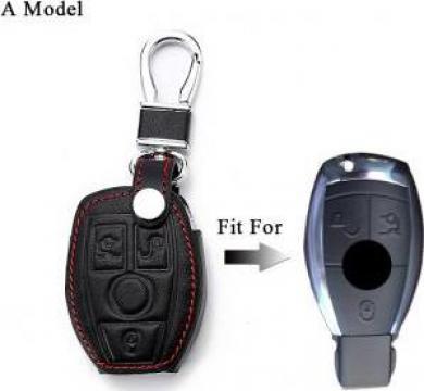 Husa piele cheie Mercedes W203 W210 W211 W124 W202 W204 AMG de la Caraudiomarket.ro - Accesorii Auto Dedicate