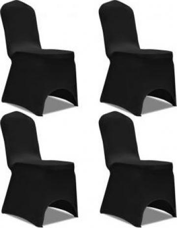 Husa elastica pentru scaun, negru, 4 buc.