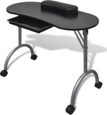 Masa pliabila de manichiura cu rotile, negru de la Vidaxl