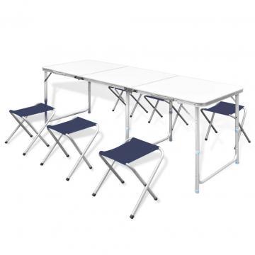 Set camping masa reglabila si 6 scaune de la Comfy Store
