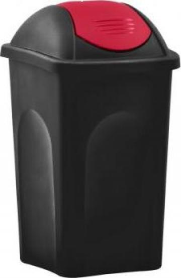 Cos de gunoi cu capac oscilant, negru si rosu, 60 litri de la Vidaxl