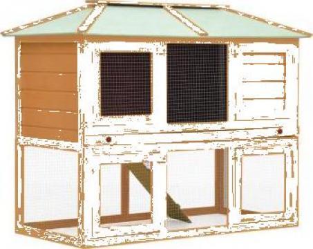 Cusca pentru iepuri si alte animale, 2 niveluri, lemn de la Vidaxl