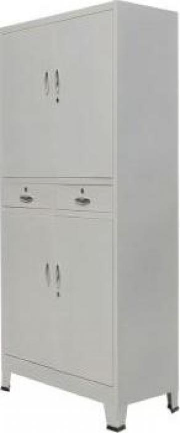 Dulap de birou cu 4 usi, otel, 90 x 40 x 180 cm, gri de la Vidaxl
