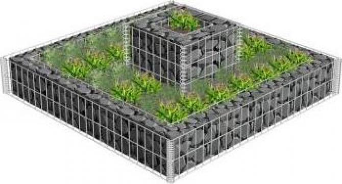 Jardiniera gabion, 120 x 120 x 20 cm, otel galvanizat de la Vidaxl