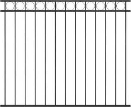 Panou de gard, negru, 1,7 x 1,5 m, otel de la Vidaxl