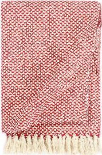 Patura decorativa, rosu, 220 x 250 cm, bumbac de la Vidaxl